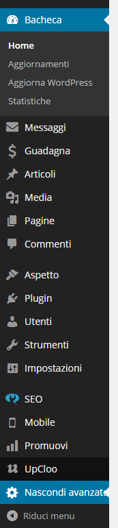 pannello controllo wordpress avanzato